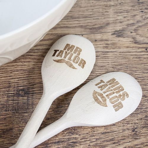 Personalised Mr and Mrs Wooden Spoons